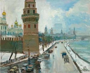 Д.А. НАЛБАНДЯН. Вид на Кремлёвскую набережную с Большого Каменного моста