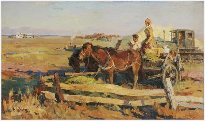 Гуляев Александр Георгиевич (Россия, 1917-1995) «Ожидание почты на целине» 1957