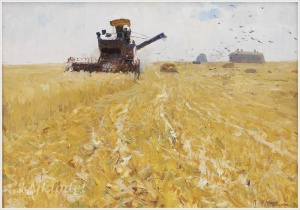 Костинский Петр Иванович (Россия, 1916–2003) «Сбор урожая» 1958