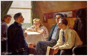 Одайник-Самойленко Зоя Александровна (Украина, 1924 - 2002) «Разговор в купе поезда»