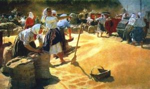 Татьяна Яблонская «Разделение зерна», 1949 год
