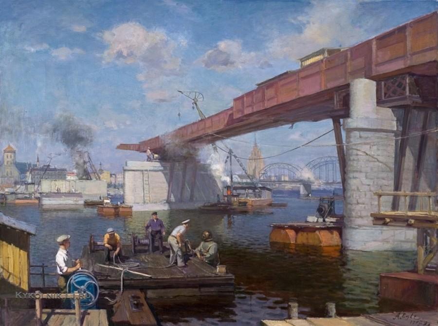 Эгле Арвид (Арвидс) Индрикович (1905-1977) «Строительство моста над Даугавой» 1957