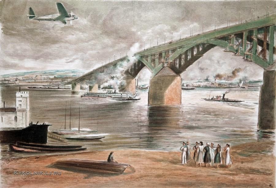 Суворов Анатолий Андреевич (1890-1943) «Мост в Горьком» 1937