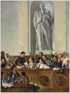 Шегаль Григорий Михайлович (1889-1956). «Вождь, учитель и друг (И.В. Сталин в Президиуме II съезда колхозников — ударников в феврале 1935 года)» (1937)