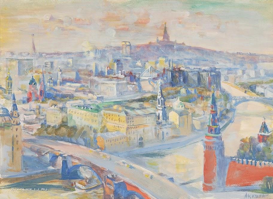 Акишин Евгений Михайлович (Россия, 1931) «Вид на Замоскворечье с гостиницы России»
