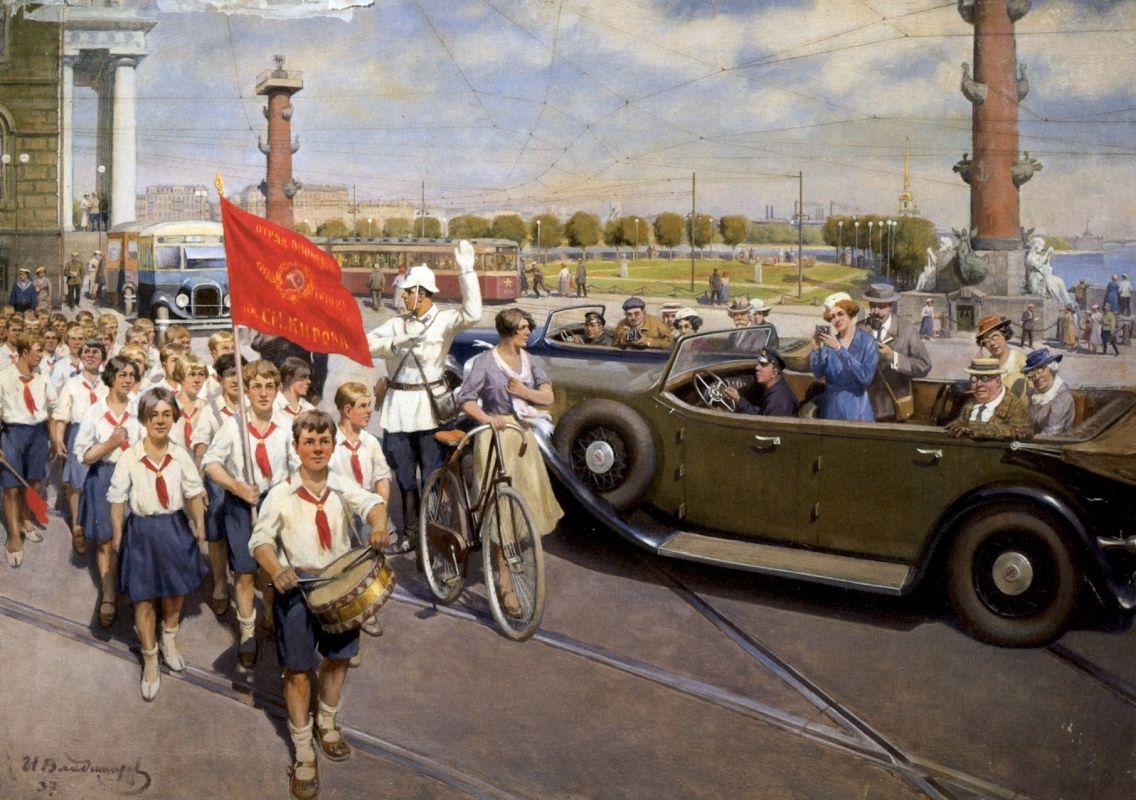 Иностранные туристы в Ленинграде. Иван Алексеевич Владимиров. 1937