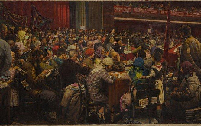 Картина Исаака Бродского. Суд крестьян-батраков (1931)