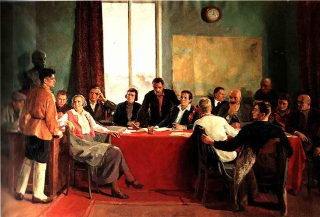 Г. Лукомский. Заседание заводского парткома. 1937