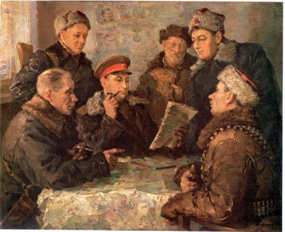 В штабе партизанского движения. Ф. А. Модоров.