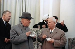 Никита Сергеевич Хрущев и Николай Александрович Булганин