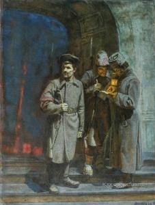 Непьянов Виктор Васильевич (1929 – 1998) «Патруль Балтийского вокзала. Октябрь 1917» 1987