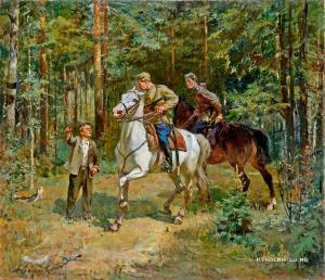 Есалов Николай Стефанович (Россия, 1922-2000) «Пограничники»