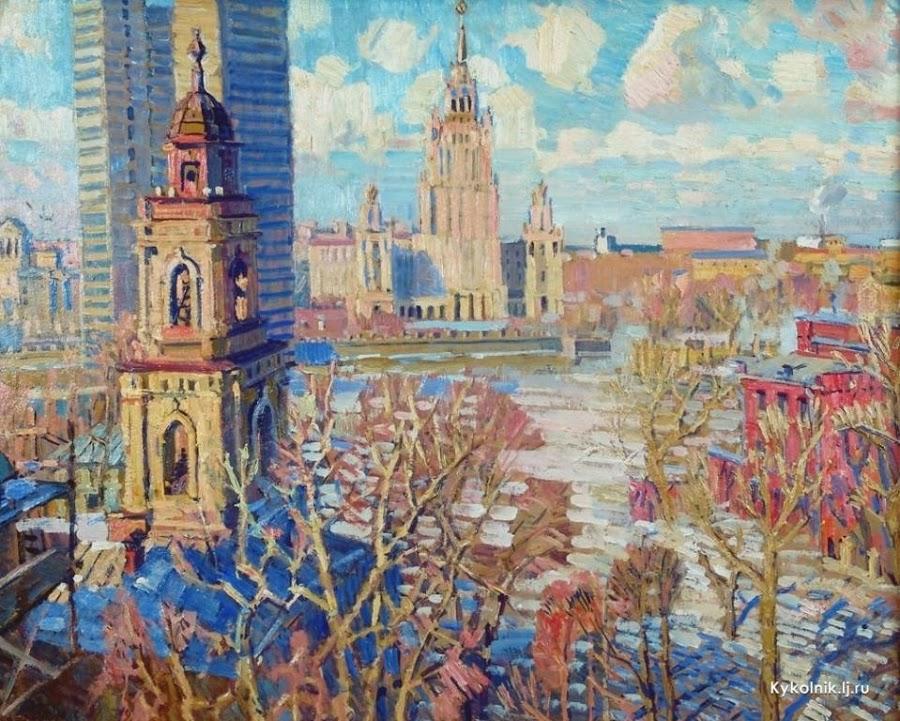 Горлов Николай Николаевич (Россия, 1917-1987) «Вид на сталинскую высотку в Москве»