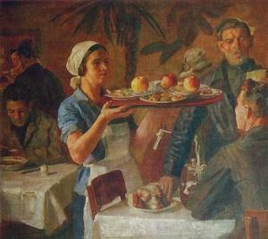 Иогансон Борис Владимирович (Россия, 1893-1973) «В заводской столовой (цех питания)» 1935
