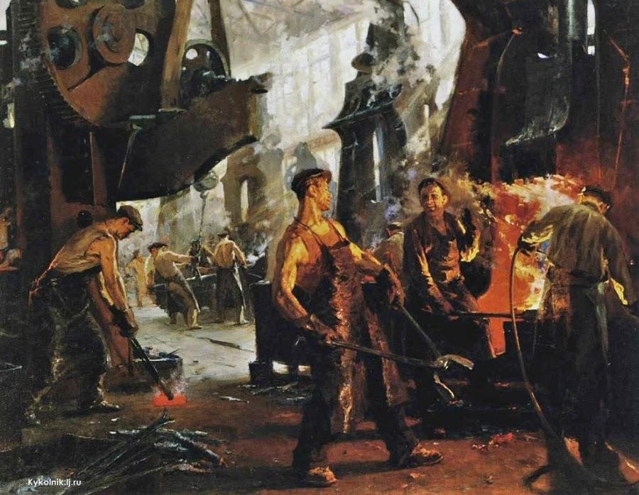 Костин Михаил Алексеевич (Россия, 1918-1972) «На сталелитейном заводе» 1949