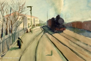 Куприянов Михаил Васильевич (Россия, 1903–1992) «Прибытие поезда» 1933