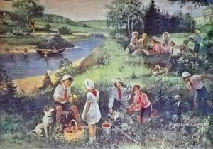 Неизвестный художник «В пионерском лагере» 1950-е