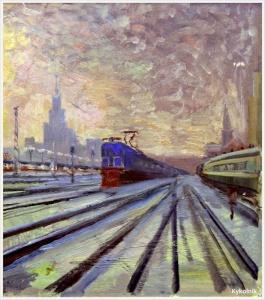 Плахотный Петр Алексеевич (Россия, 1908-1963) «Электричка на путях трёх вокзалов» 1960