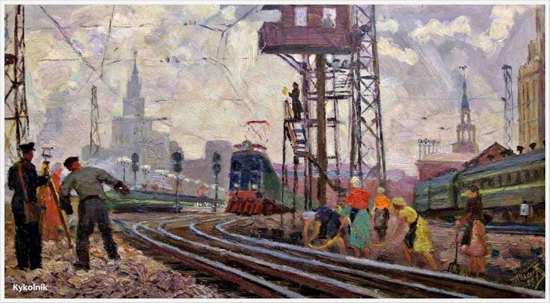 Плахотный Петр Алексеевич (Россия, 1908-1963) «Рабочие на железнодорожных путях трёх-вокзалов» 1959