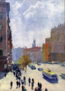 Соколов Николай Александрович (Россия, 1903-1995) «Весенний день в Москве»