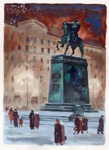Винокур Владимир Исаакович (Россия, 1927) «Вечер. Тверская» 1950-е