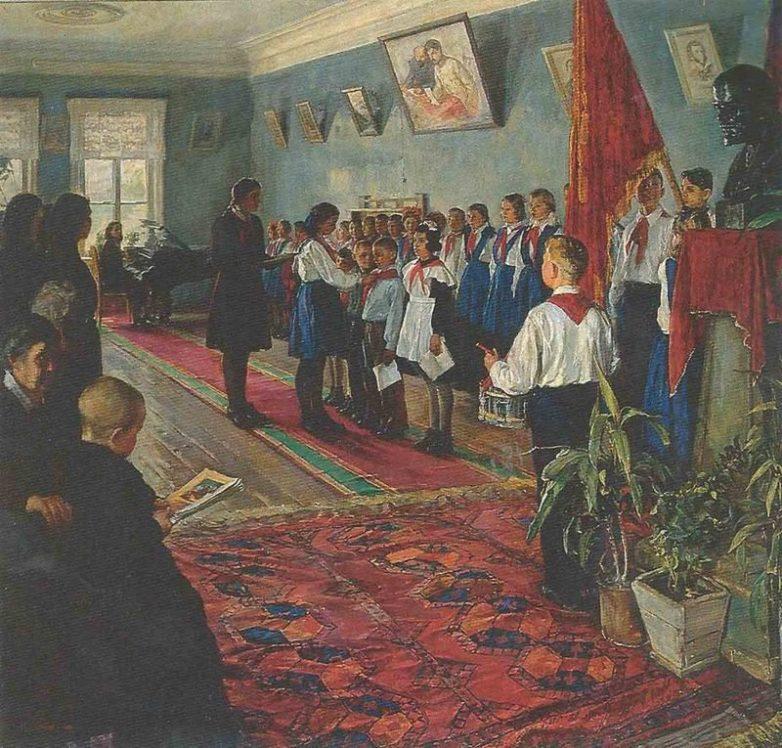 «Прием в пионеры» В.А. Цветков, 1951 год