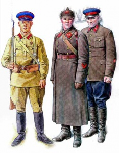 На рисунке военнослужащие войск НКВД в форме обр.1937г. Слева красноармеец в летней форме, в центре лейтенант пехоты войск НКВД в зимней форме, справа старший политрук войск НКВД во френче.