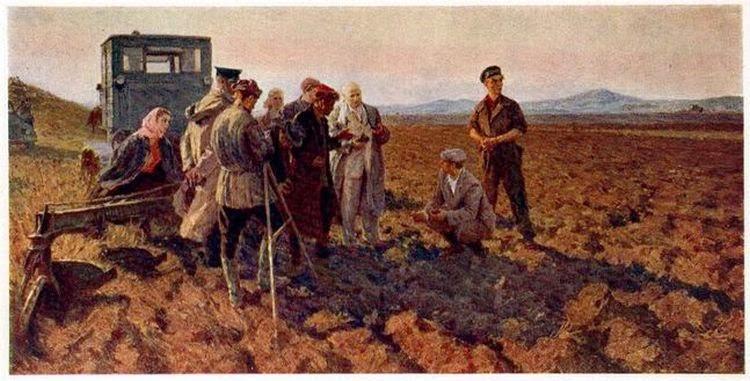 Худ. Р.Галицкий. Н.С. Хрущёв на целине (открытка)