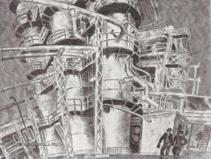 Гречкин Петр Федорович (1907-1990) «Серебряные трубы» из серии «Нефтеперерабатывающий завод» 1977