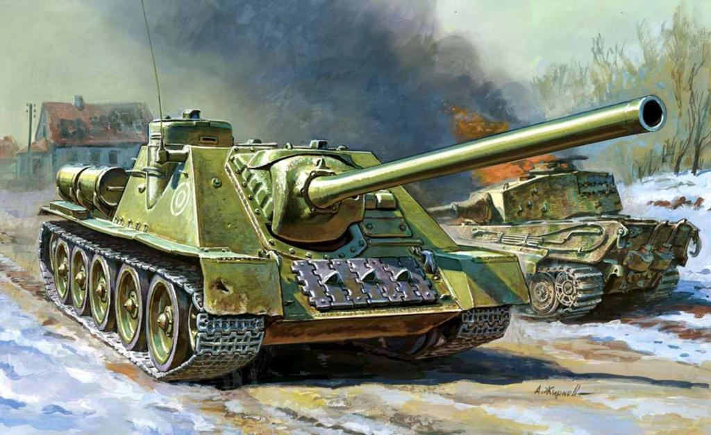 Советская самоходно-артиллерийская установка СУ-100. Худ. А. Жирнов