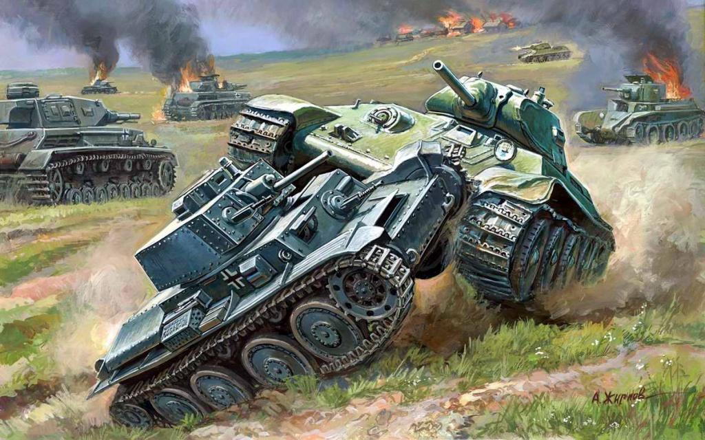 Танковый бой: советский Т-34 против немецкого PzKpfw II (Андрей Жирнов)