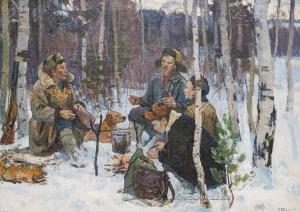 Богачев Петр Никифорович (Россия, 1921) «Охотники на привале» 1964
