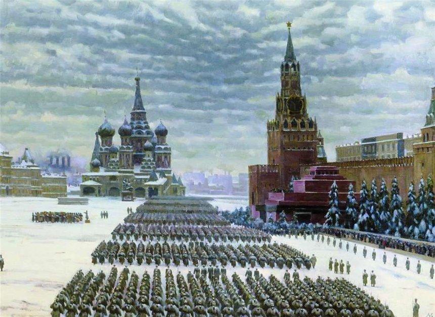 Парад на Красной площади 7 ноября 1941 года. К. Юон. 1949.
