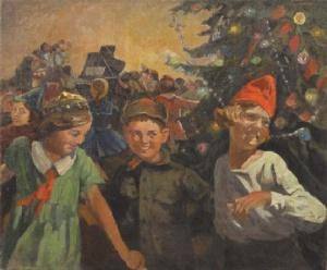 Д. Колупаев. Праздник в школе. На елке. 1949
