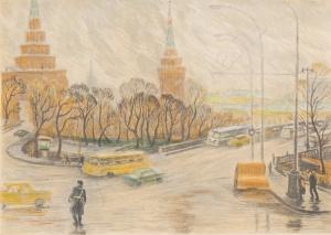 Дехтерева Татьяна Александровна (Россия, 1930) «Вид на Большой Каменный мост и Боровицкие ворота». 1980-е