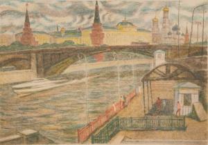 Дехтерева Татьяна Александровна (Россия, 1930) «Вид на Кремль». 1980-е