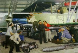 Константин Федорович Юон «Пробная подвеска бомб». Челябинская картинная галерея