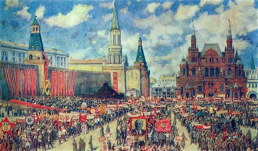 Первомайская демонстрация на Красной площади в 1929 году. Худ. К. Юон. 1930.