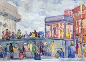 Бронштейн Наталья Шаевна (Россия, 1942) «Осень. У магазина на площади Трех вокзалов» 1980-е