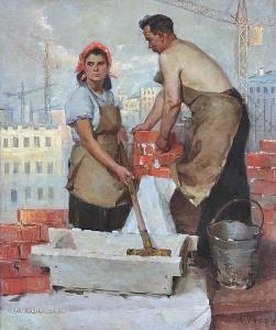 Фролов Серафим Леонидович (Россия, 1924-1970) «На стройке» 1956