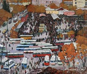 Хоренко Владимир Федорович (Украина, 1927-2001) «Рыночная площадь. Донецк» 1968
