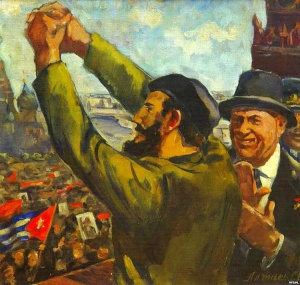 Худ. С.Алтаев. Хрущев и Кастро на Красной площади