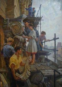 """Г. Сатель. На строительстве гостиницы """"Украина"""". 1950"""