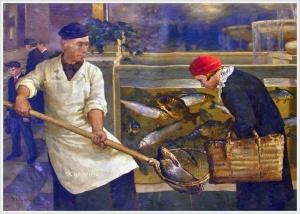 Клевер Юлий Юльевич (сын) (Россия, 1882-1942) «В рыбном магазине» 1938