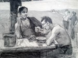 Молчанов Александр Николаевич (Россия, 1938) «Обед в поле» 1961