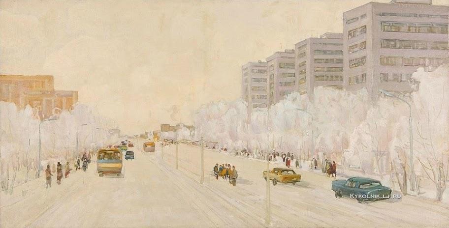 Ряузов Борис Яковлевич (1919-1994) «Зимний проспект» 1980-е