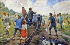 Шульга Илья Максимович (1878-1938) «Первый трактор на селе» 1937