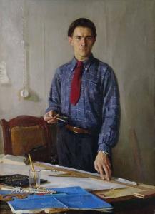 Савинов Глеб Александрович (1915-2000) «Портрет студента (Сталинский инженер)» 1952