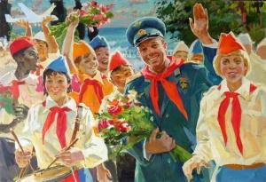 Овчаров Виктор Петрович (1928-1995) Гагарин и пионеры.