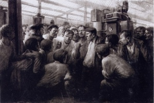 Михаил Антонов. Разоблачение врага народа в цеху. 1938